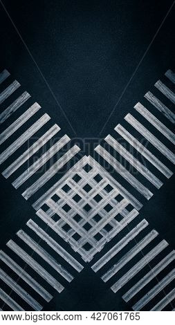 Abstract Crossing Lanes Of Two Pedestrian Crossings At The Crossroads In The City - Aerial Top View