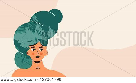 Naked Beautiful Woman With Green Plant Leaf And Nature Decoration. Health Face Skin Concept Or Eco F