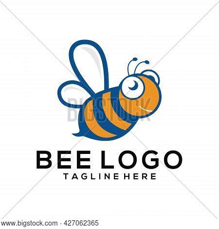 Vector Cartoon Illustration Of A Bee Flying. Bee Icon. Bee Logo Template Vector Icon Illustration De