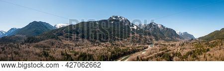 Aerial Panorama Image By Drone Of The Cascade Mountains In Washington State