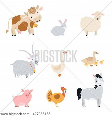 Set Farm Elements. Collection Cute Farm Animals In A Flat Style. Illustration With Pets Cow, Horse,