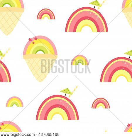 Seamless Pattern With Cute Summer Rainbow And Ice Cream, Cocktail. Background For Wallpaper, Fabric,