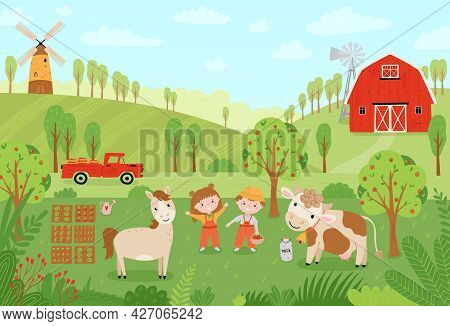 Landscape Farm. Cute Background With Farm Animals In A Flat Style. Children Farmers Are Harvesting C