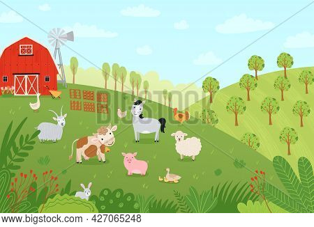 Landscape Farm. Cute Background With Farm Animals In A Flat Style. Illustration With Pets Cow, Horse