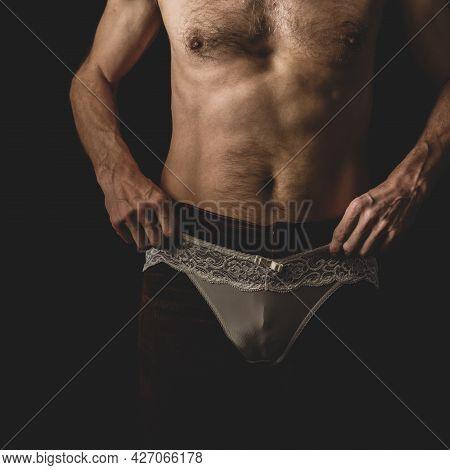 Anonymous Shirtless Young Man Wearing Womans Panties