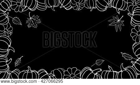 Black Rectangular Frame With Hand Drawn White Vector Pumpkins And Autumn Leaves With Empty Place For