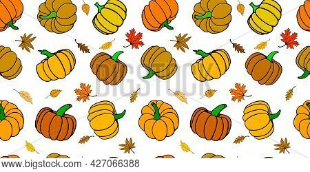 Seamless Vector Rectangular Autumn Pattern. Pumpkins With Yellow, Brown, Orange And Yellow Leaves Is