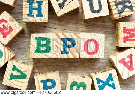 Alphabet Letter Block In Word Bpo (abbreviation Of Business Process Outsourcing) With Another On Woo