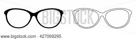 Glasses Icon. Set Of Sun Glasses Icons. Vector Illustration. Sun Glasses Vector Icons. Black Linear