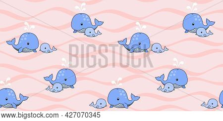 Mother Whale And Baby Whale Swim On The Waves On A Pink Background. Endless Texture With Cute Blue W