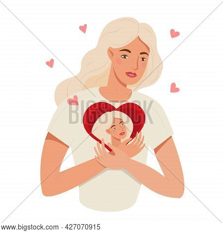 Love Yourself And Self Care Concept. Woman Hugging Heart With Self Image Inside. Young Woman With A