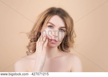 Face Mask, Spa Beauty Treatment, Skincare. Beautiful Young Woman With Clean Perfect Skin. Portrait O