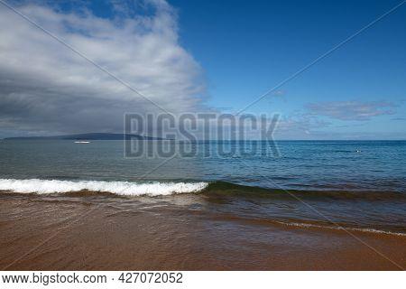 Seaside View Of Beach, Summer Vacation Background. Surf Splashing Tide.