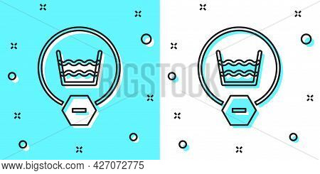 Black Line Delicate Wash Icon Isolated On Green And White Background. Random Dynamic Shapes. Vector