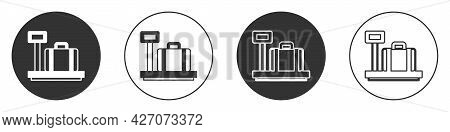 Black Scale With Suitcase Icon Isolated On White Background. Logistic And Delivery. Weight Of Delive