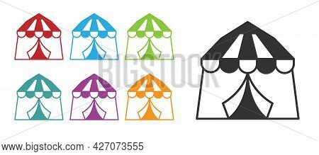 Black Circus Tent Icon Isolated On White Background. Carnival Camping Tent. Amusement Park. Set Icon