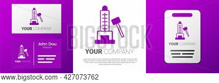 Logotype High Striker Attraction With Big Hammer Icon Isolated On White Background. Attraction For M