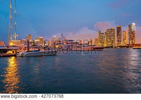 Miami City Night Skyline. Miami Cityscape At Night.