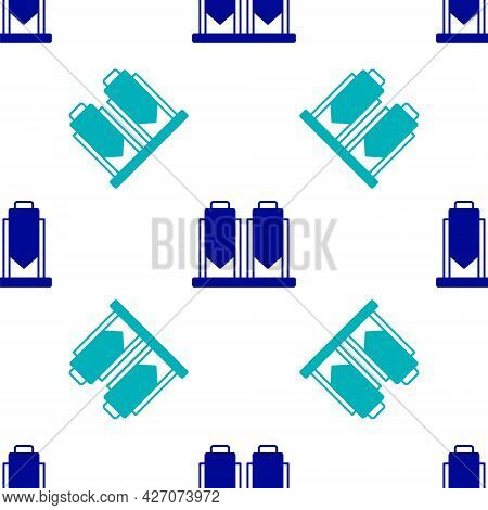 Blue Traditional Brewing Vessels In Brewery Icon Isolated Seamless Pattern On White Background. Beer