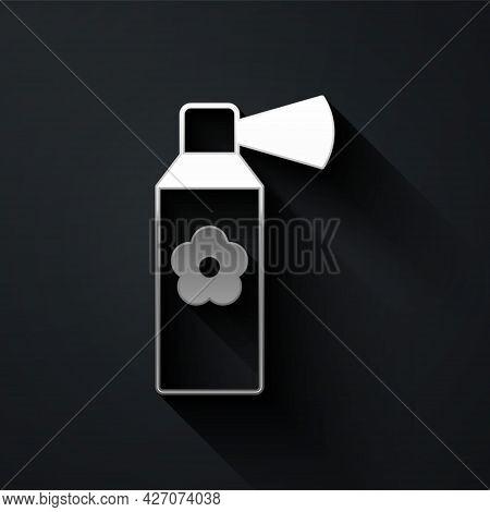 Silver Air Freshener Spray Bottle Icon Isolated On Black Background. Air Freshener Aerosol Bottle. L