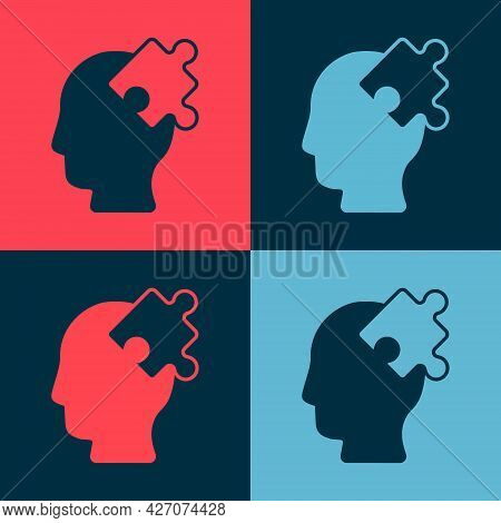 Pop Art Solution To The Problem In Psychology Icon Isolated On Color Background. Puzzle. Therapy For