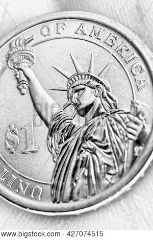 Us Coin Lies On The Palm. 1 Dollar Coin Close-up. Light Black And White Vertical Illustration. News