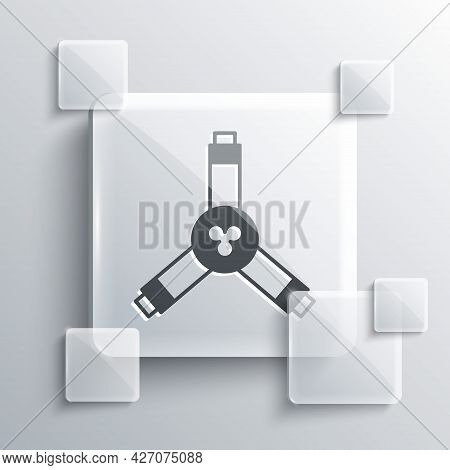 Grey Skateboard Y-tool Icon Isolated On Grey Background. Square Glass Panels. Vector
