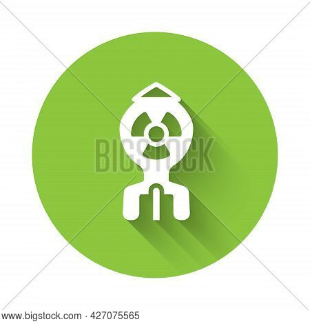 White Nuclear Bomb Icon Isolated With Long Shadow Background. Rocket Bomb Flies Down. Green Circle B