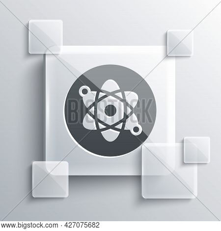 Grey Atom Icon Isolated On Grey Background. Symbol Of Science, Education, Nuclear Physics, Scientifi