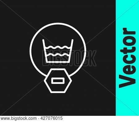 White Line Delicate Wash Icon Isolated On Black Background. Vector