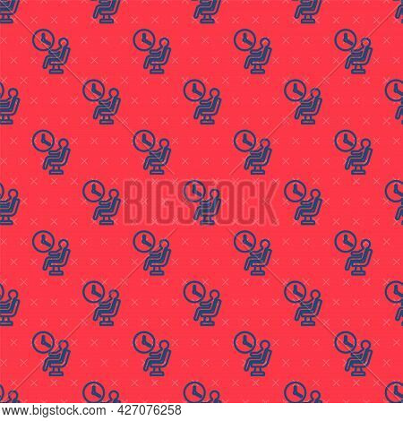 Blue Line Human Waiting In Airport Terminal Icon Isolated Seamless Pattern On Red Background. Vector