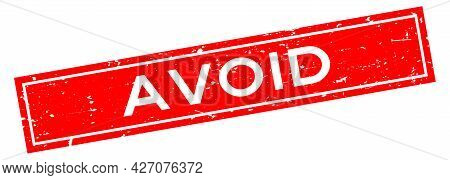 Grunge Red Avoid Word Square Rubber Seal Stamp On White Background