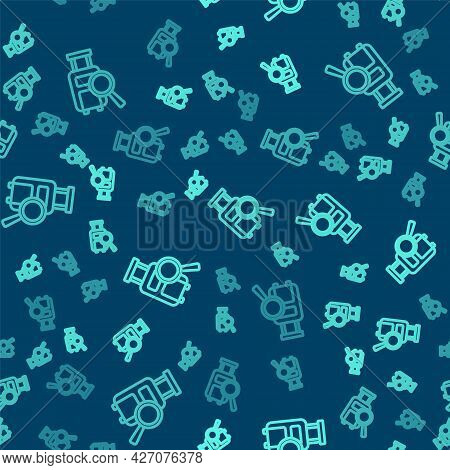 Green Line Airline Service Of Finding Lost Baggage Icon Isolated Seamless Pattern On Blue Background