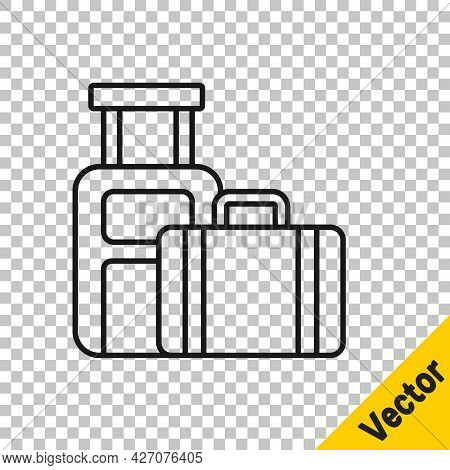 Black Line Suitcase For Travel Icon Isolated On Transparent Background. Traveling Baggage Sign. Trav
