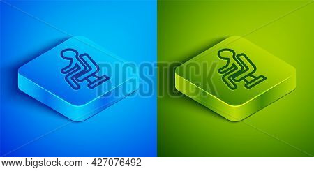 Isometric Line Human Waiting In Airport Terminal Icon Isolated On Blue And Green Background. Square
