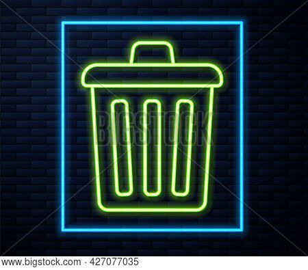 Glowing Neon Line Trash Can Icon Isolated On Brick Wall Background. Garbage Bin Sign. Recycle Basket