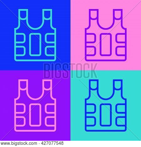 Pop Art Line Bulletproof Vest For Protection From Bullets Icon Isolated On Color Background. Body Ar