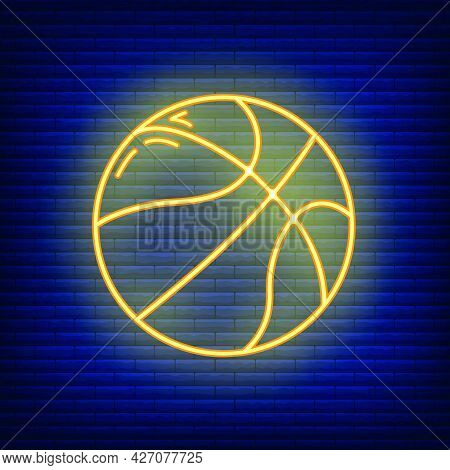 Basketball Ball Sport Equipment Icon Glow Neon Style, Educational Institution Process, Back To Schoo