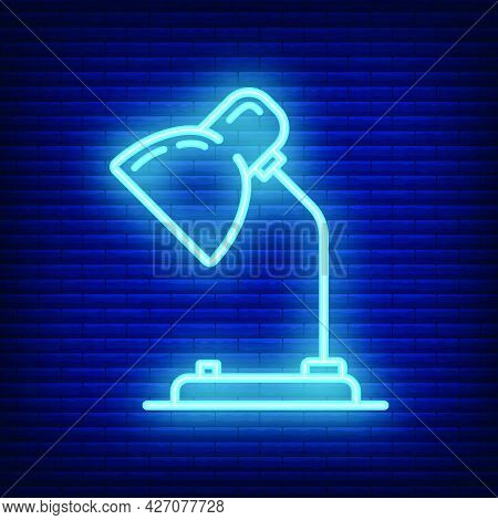 Table Desk Lamp Icon Glow Neon Style, Educational Institution Process School, Outline Flat Vector Il