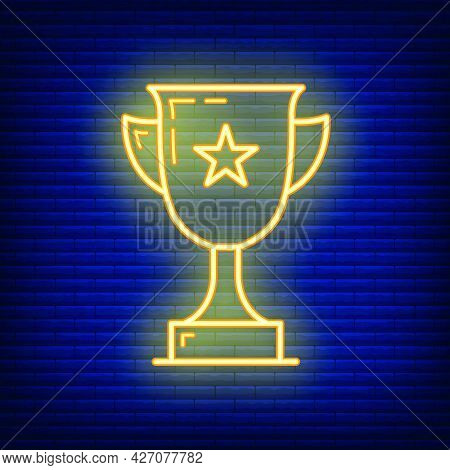 First Place Golden Cup With Star Icon Glow Neon Style, Educational Institution Process School, Outli