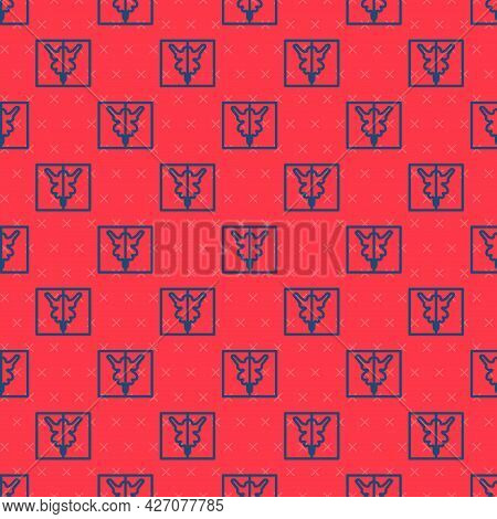 Blue Line Rorschach Test Icon Isolated Seamless Pattern On Red Background. Psycho Diagnostic Inkblot