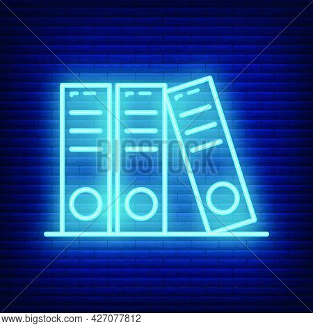 Archive Document Icon Glow Neon Style, Educational Institution Process, Back To School Outline Flat