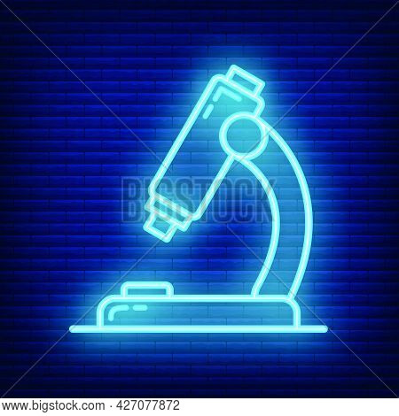 Microscope Icon Glow Neon Style, Educational Institution Process, Back To School Color Outline Flat