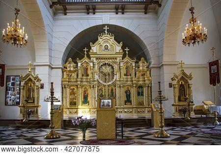 Latvia, Aluksne, July, 2020 - Interior Of The Aluksne Evangelical Lutheran Church. Latvia