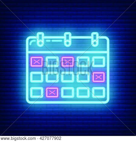 Calendar Deadline Time Icon Glow Neon Style, Educational Institution Process, Back To School Outline
