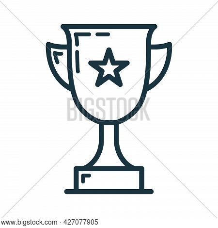First Place Golden Cup With Star Icon, Educational Institution Process School, Outline Flat Vector I
