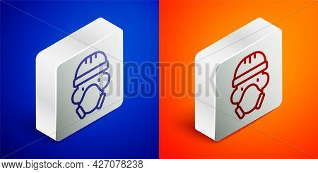 Isometric Line Nuclear Power Plant Worker Wearing Protective Clothing Icon Isolated On Blue And Oran