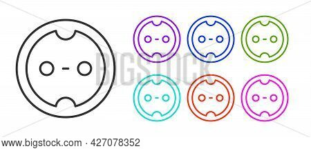 Black Line Electrical Outlet Icon Isolated On White Background. Power Socket. Rosette Symbol. Set Ic