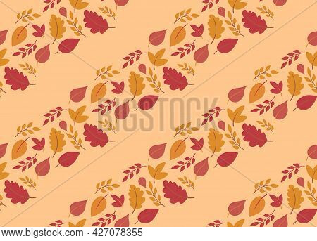Cute Autumn Seamless Pattern Background With Colorful Falling Leaves In Diagonal Lines On Beige Back