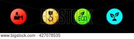 Set Factory Production, Industrial Hook, Leaf Eco Symbol And Plant Based Icon. Vector